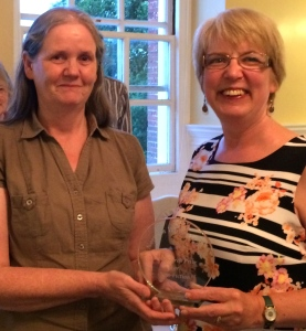 Gill Blanchard (Left) of Past Search awards the trophy for Non-Fiction to Phyllida Scrivens July 2015