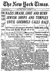 New York Times Headlines Kristallnacht